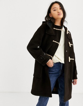Gloverall Monty full length duffle coat in wool blend-Brown