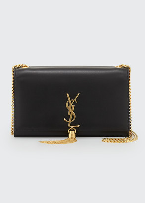 Saint Laurent Kate Medium Smooth Calfskin Clutch Bag w/ Tassel