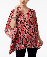 MICHAEL Michael Kors Ring-Hardware Printed Poncho Top, a Macy's Exclusive Style
