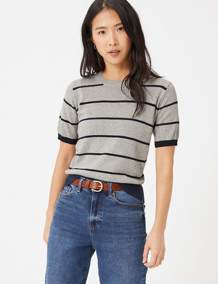 Marks and Spencer Pure Cotton Striped Crew Neck Jumper