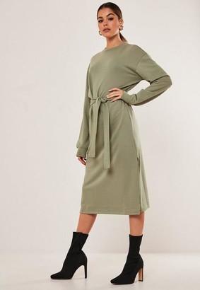Missguided Khaki Tie Waist Midi Sweater Dress