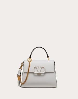 Valentino Small Vsling Grainy Calfskin Handbag Women Optic White 100% Pelle Di Vitello - Bos Taurus OneSize