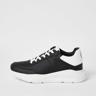 River Island Black lace-up chunky runner trainers