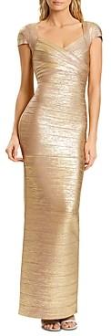 Herve Leger Banded Shimmer Gown