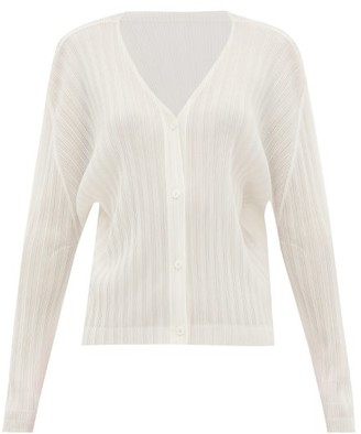 Pleats Please Issey Miyake Technical-pleated Cardigan - Womens - White