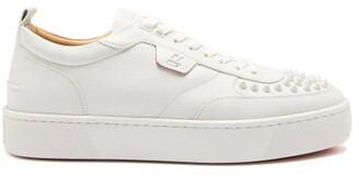 Christian Louboutin Happy Rui Spike-embellished Leather Trainers - Mens - White