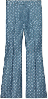 Gucci Light GG lame flare trousers