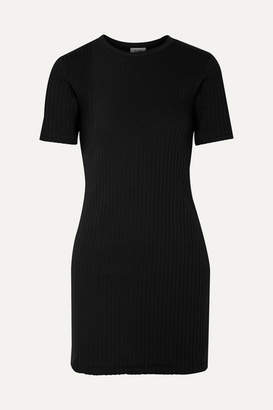 RE/DONE 60s Ribbed Cotton-jersey Mini Dress - Black