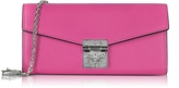 MCM Patricia Electric Pink Leather 2 Fold Large Wallet w/Chain