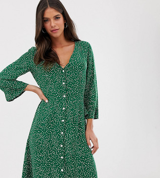 Y.A.S Tall floral button up dress-Green
