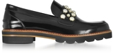 Stuart Weitzman Mocpearl Jet Mirror Leather Loafers w/Pearls