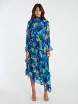 MISA Los Angeles Rania Chiffon Smock Neck Asymmetrical Midi Dress