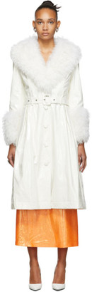 Saks Potts SSENSE Exclusive White Shearling Foxy Gloss Coat