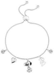 "Peanuts Fine Silver Plated Cubic Zirconia ""2021"" Snoopy Charm Adjustable Bolo Bracelet"