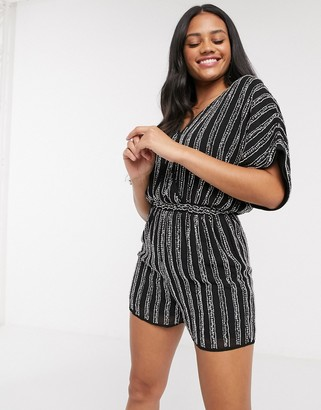 Lace & Beads embellished romper in black