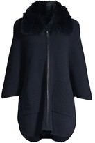 Thumbnail for your product : Sofia Cashmere Fox-Fur Collar Ottoman Ribbed Cashmere Cardigan
