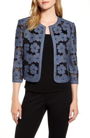 Anne Klein Flower Applique Cardigan