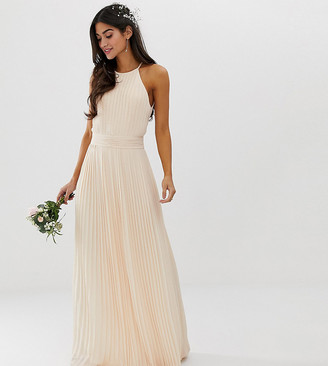 TFNC Petite bridesmaid exclusive high neck pleated maxi dress in pearl pink