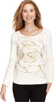 Style&Co. Sport Petite Top, Long-Sleeve Floral-Print French-Terry