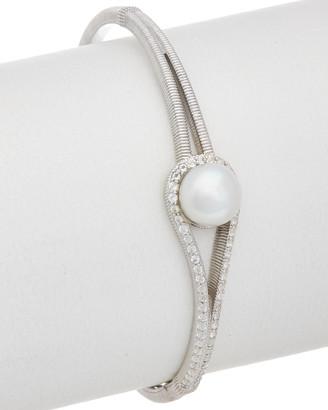 Judith Ripka Pearl Silver 5.48 Ct. Tw. White Topaz & 9-9.5Mm Pearl Cuff