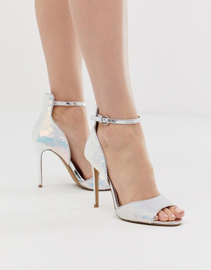 By Dune Minndy sequin irridescent metallic two part heeled sandals