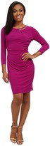 Tahari by Arthur S. Levine Petite Jersey Half Chain Side Rouch Dress
