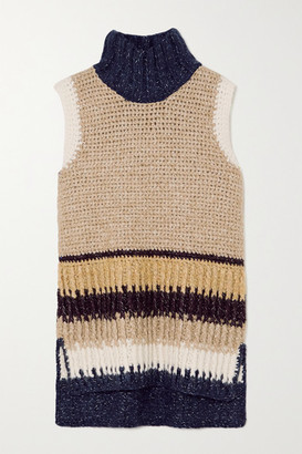 By Malene Birger Cipura Striped Knitted Turtleneck Tank - Midnight blue