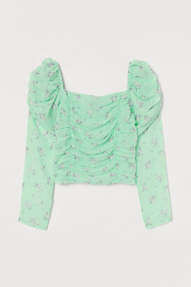 H&M Puff-sleeved Top - Green