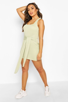 boohoo Petite Rib Square Neck Tie Front Bodycon Dress