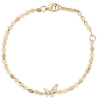 Lana Girl 14K Yellow Gold & Diamond Tiny Butterfly Bracelet