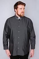 Yours Clothing Slate Grey Dark Grey Formal Long Sleeve Shirt - TALL