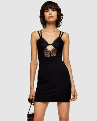 Topshop Lace Bodycon Mini Dress