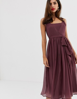 Asos Design DESIGN soft chiffon square neck midi prom dress with twist strap-Purple