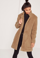 Missguided Teddy Faux Shearling Coat Tan