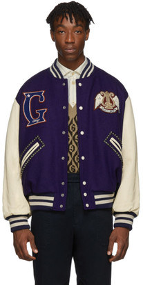 Gucci Blue and Off-White Band Varsity Jacket