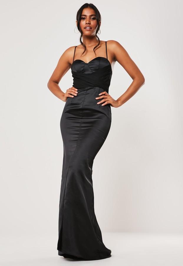 Missguided Bridesmaid Black Chiffon Wrap Fishtail Maxi Dress