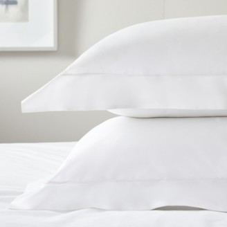 The White Company Oxford Pillowcase with Border Single, White, Large Square