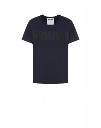 Moschino Jersey T-shirt With Logo Man Blue Size 44 It - (34 Us)