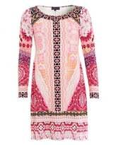 Hale Bob Womens Kassandra Dress, Beaded Mosaic Berry Dress