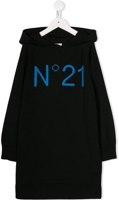 No21 Kids Logo Intarsia Hooded Dress