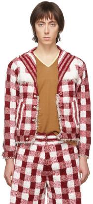 Judy Turner Red and White Crochet Wim Blazer