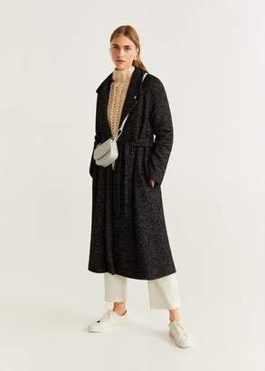 MANGO Belted wool coat caramel - XS - Women