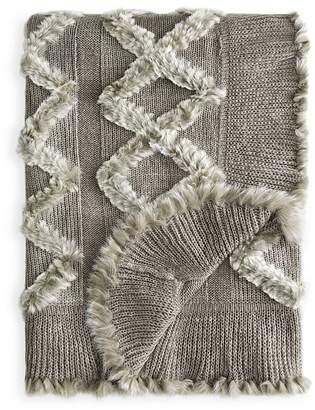 Adrienne Landau Knit & Rabbit Fur Throw