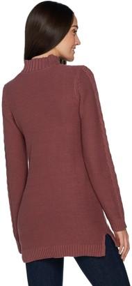 Denim & Co. Petite Mock Neck Cable Knit Tunic Sweater