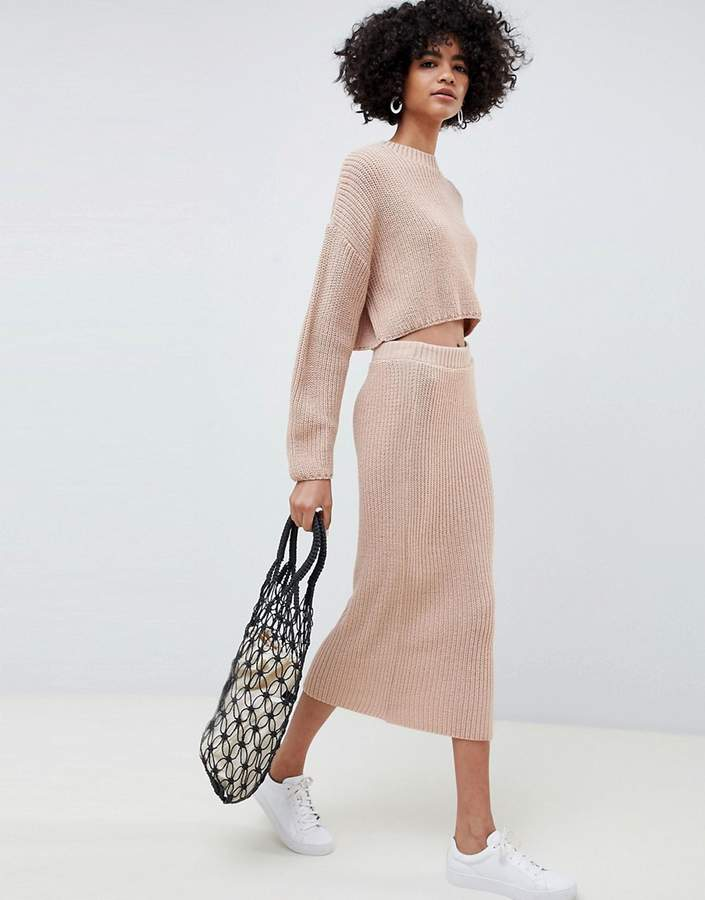 Design DESIGN two-piece skirt in rib knit