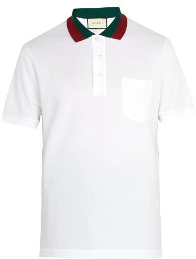 Gucci Web-stripe Trimmed Cotton-pique Polo Shirt - White