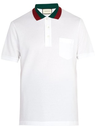 Gucci Web-stripe Trimmed Cotton-pique Polo Shirt - Mens - White