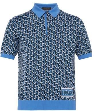 Prada Geometric Wool-jacquard Polo Shirt - Mens - Blue Multi