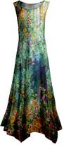 Lily Women's Maxi Dresses GLD - Gold & Blue Floral Sleeveless Handkerchief Maxi Dress - Women & Plus