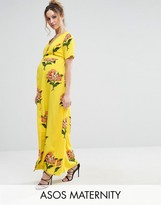 Asos Maxi Tea Dress with Open Back in Floral Print